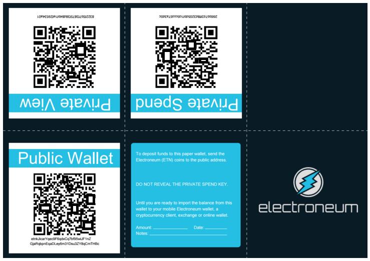 Electroneum Offline Paper Wallet Example